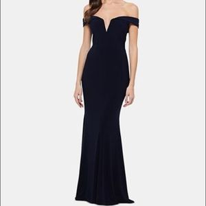 Xscape Off-the-shoulder formal gown navy
